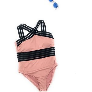 Kenneth Cole Pink Black One Piece Peek Swimsuit L